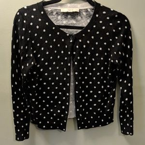 Black and white polka dot cropped cardigan